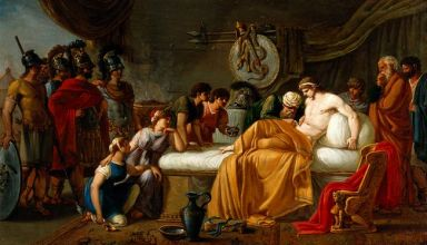 V0017554 Alcibiades wounded. Oil painting by Joseph-Marie Vien.